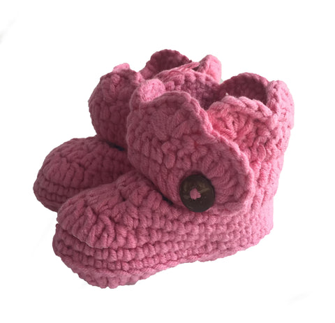Crochet Dusty Rose Mary Jane Baby Booties