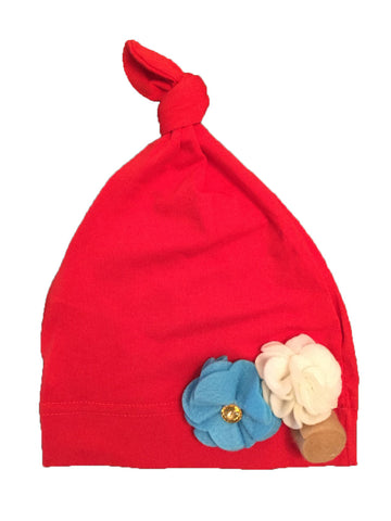 Cotton Baby Girl Hat - Red with Flowers