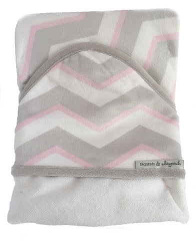 Hooded Towel - Baby Girl Pink/White/Grey Chevron