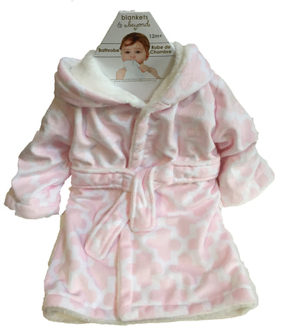 Baby Girl Robe - Pink/White Pattern