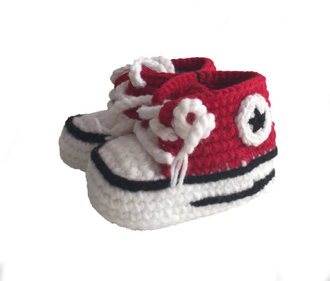 "Crochet ""Converse"" Red Baby Booties"