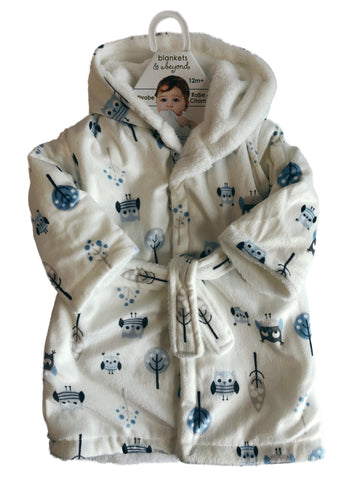Baby Boy Robe - Grey/White/Blue Owls & Trees