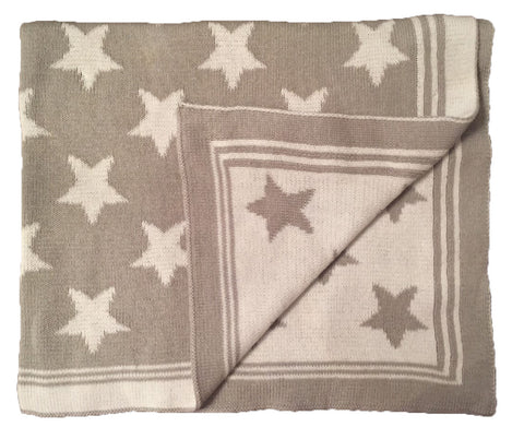 Woven Grey & White Blanket with Stars