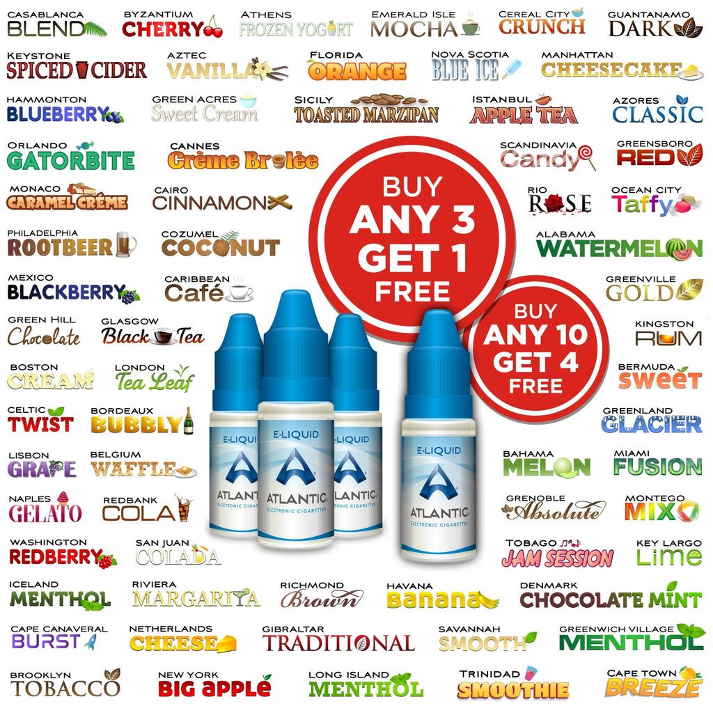 Atlantic Premium E-Liquids: Buy 10 Get 4 Free! (10mL)