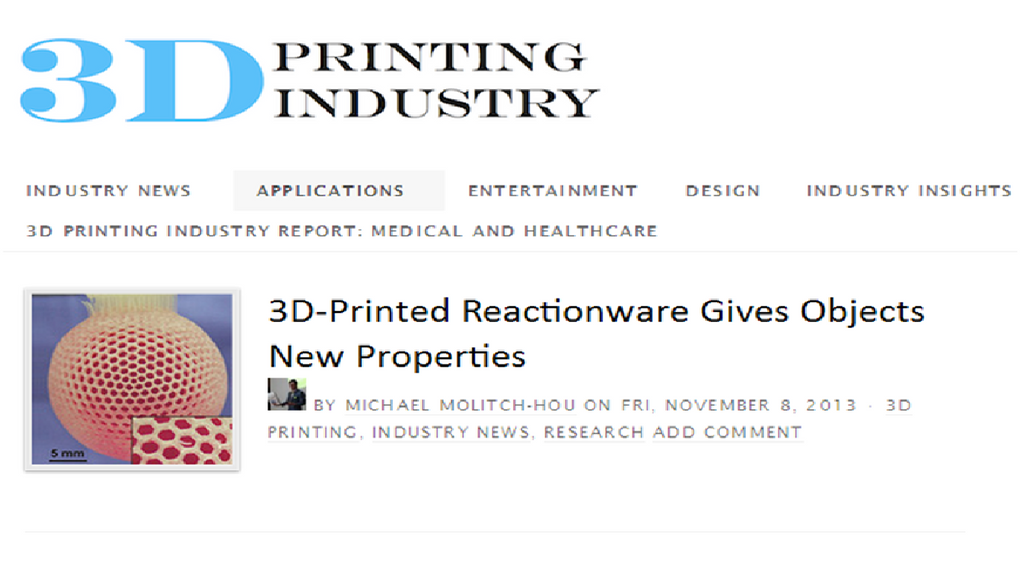 Media Report: 3D-Printed Reactionware Gives Objects New Properties