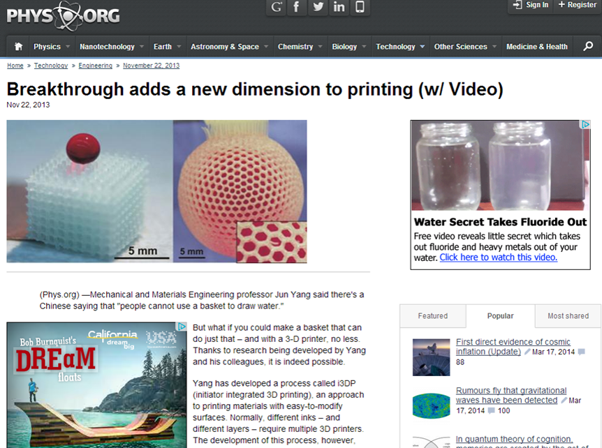 Media report: Breakthrough adds a new dimension to printing (w/ Video)