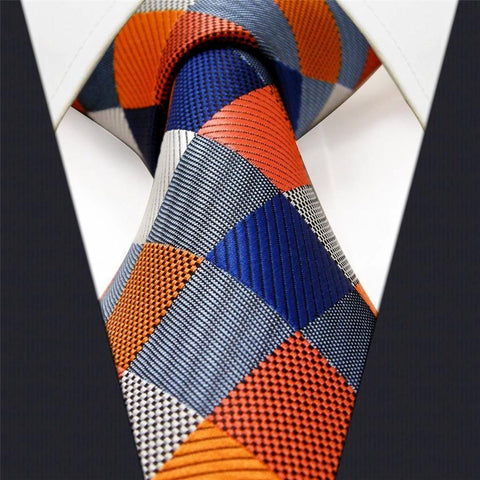 Orange and Blue Check Necktie Front