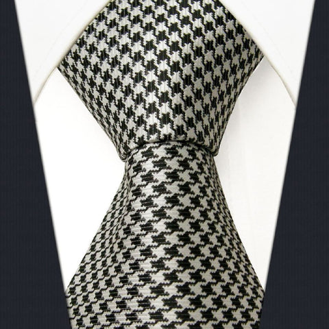 Black / White Hounds Tooth Necktie Main Image