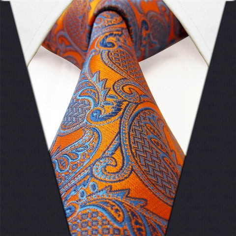 Orange Blue Paisley Necktie Main Image