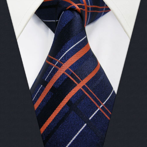 Blue / Orange Plaid / Stripe Necktie Main Image