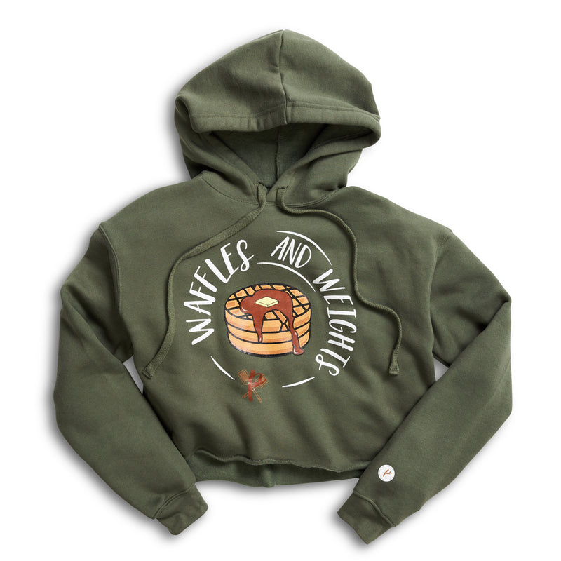Women's Cropped Hoodie - Waffles & Weights GREEN