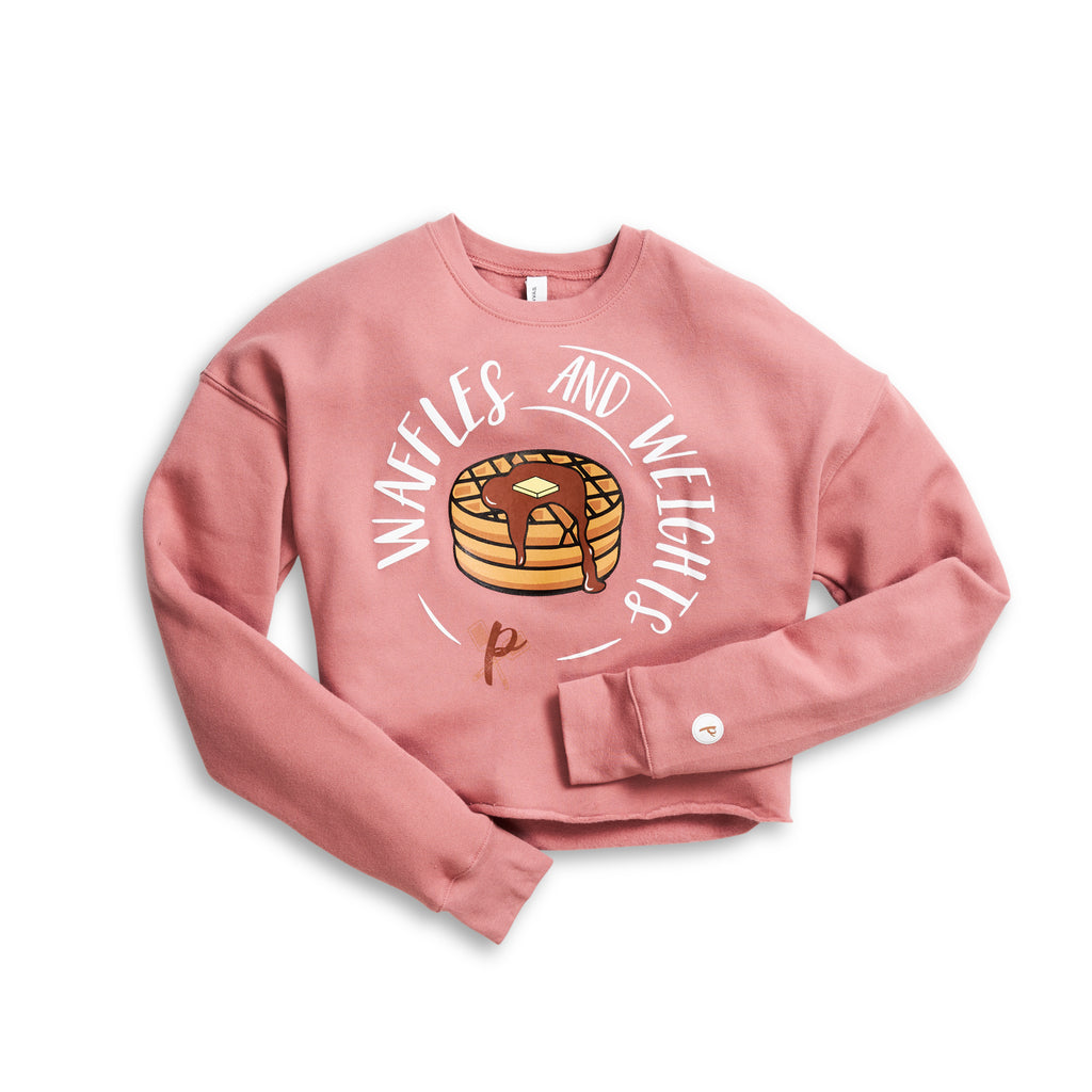 Women's Cropped Sweatshirt - Waffles and Weights PINK