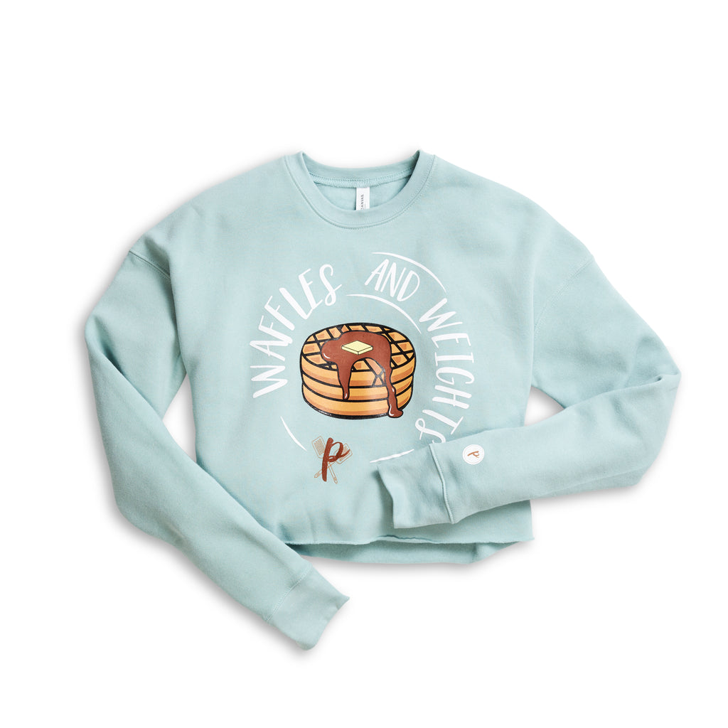 Women's Cropped Sweatshirt - Waffles and Weights BLUE