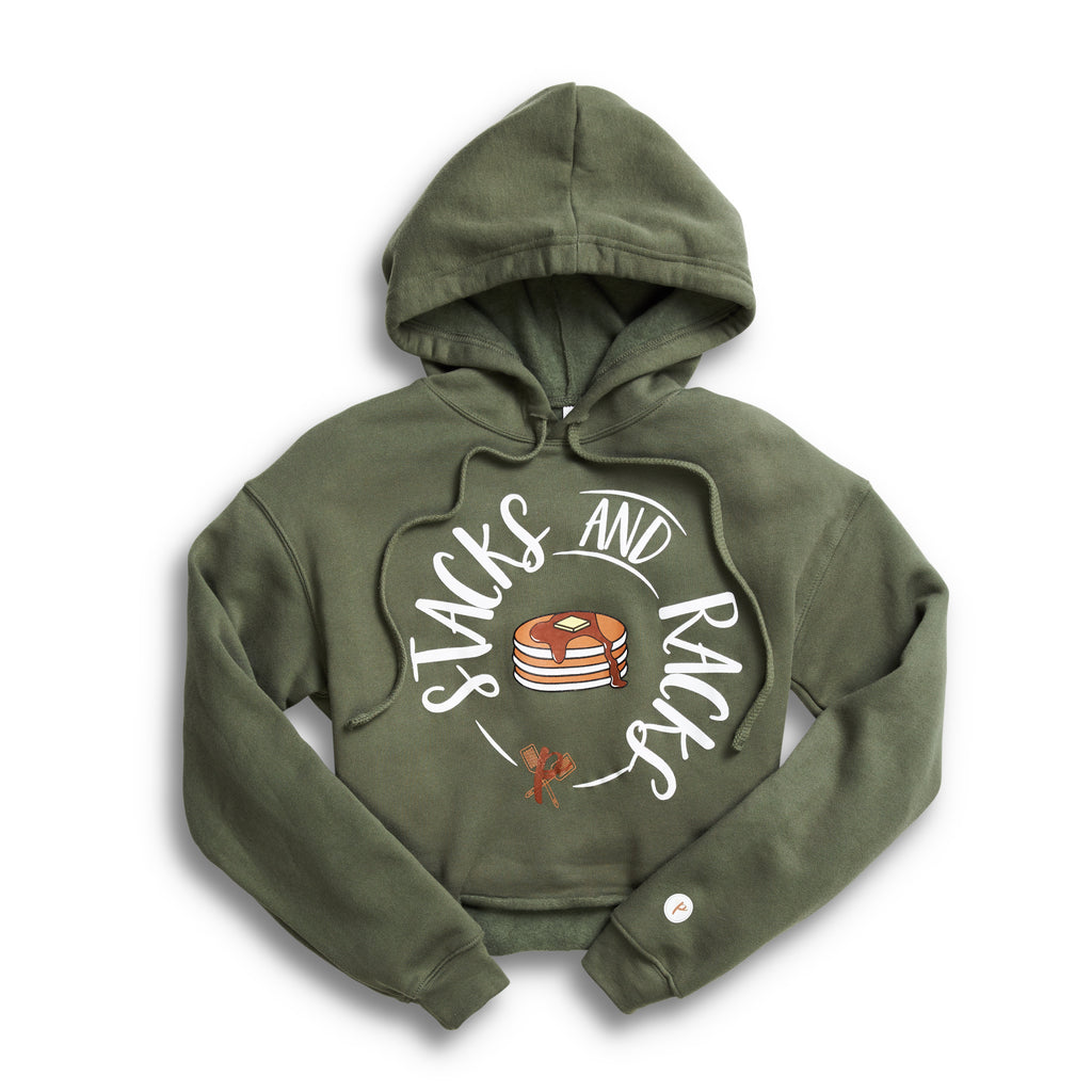 Women's Cropped Hoodie - Stacks and Racks GREEN