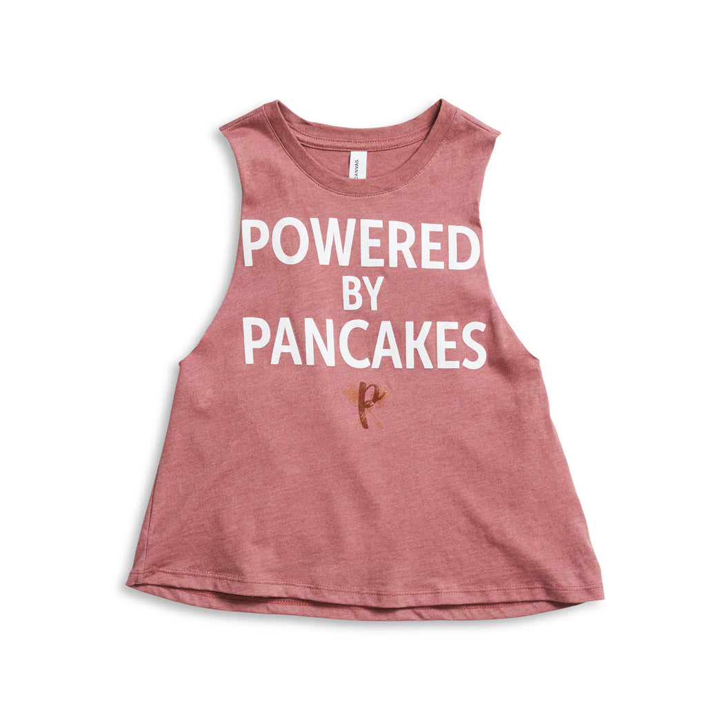 Women's Powered by Pancakes Crop Muscle Tank PINK