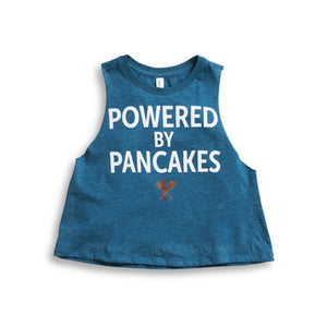 Women's Powered by Pancakes Crop Muscle Tank BLUE