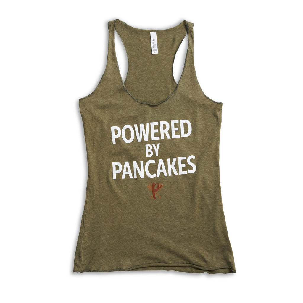 Women's full-length Powered by Pancakes Tank Top GREEN