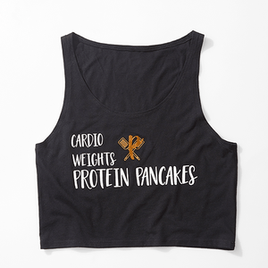 Women's Cardio, Weights, Protein Pancakes Crop Tank - black