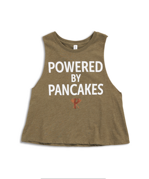 Women's Powered by Pancakes Crop Muscle Tank GREEN