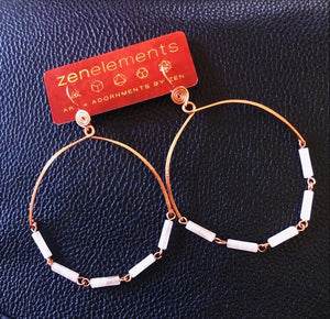 Copper Rose Quartz Hoops