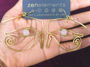 Wadjet Eyes in Rose Quartz & Brass