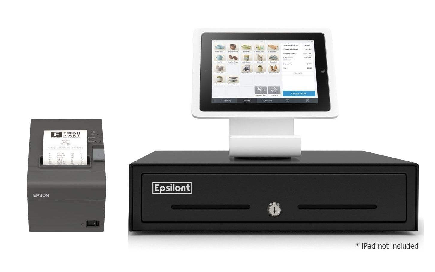 SQUARE POS REGISTER HARDWARE KIT- Square Stand, Epson Direct Thermal Printer and Epsilont Cash Drawer