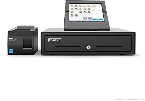 SQUARE POS BUNDLE - Epsilont Stand for iPad Air, TSP143IIILAN ETHERNET (LAN) Receipt Printer and Epsilont Cash Drawer