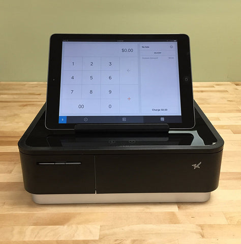 Square Register Hardware Bundle Compact Bluetooth Receipt Printer, 4 Bill 4 Coin Cash Drawer, Universal Table Stand for iPad Air, Air2, Mini and other
