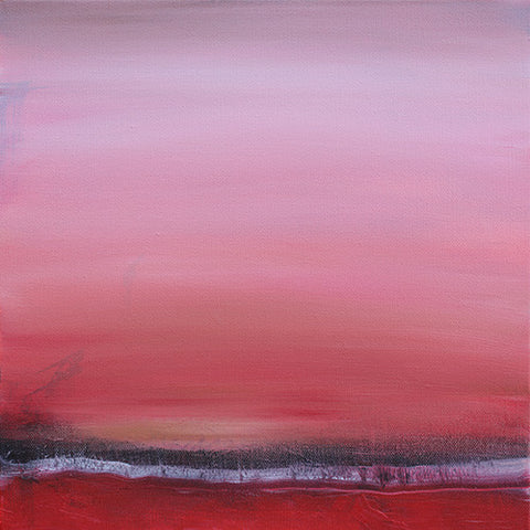red landscape painting, square art, for sale