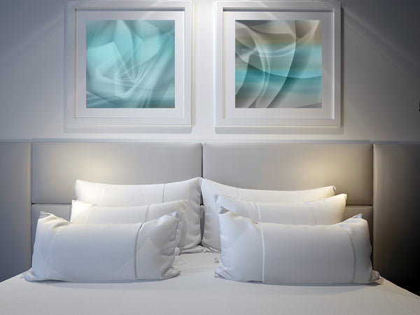 art above headboard for sale, turquoise art for sale, square art, art for interior design, art for hotels
