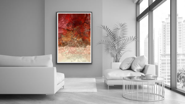 Art in interiors, red photography, red abstract, oversized art