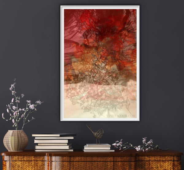 Interior styling, art for interior design, red artwork