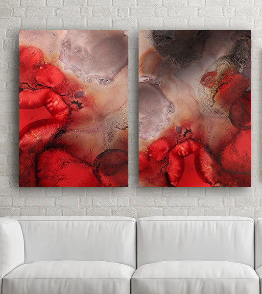 red art for contemporary interior design, red art for sale, red print