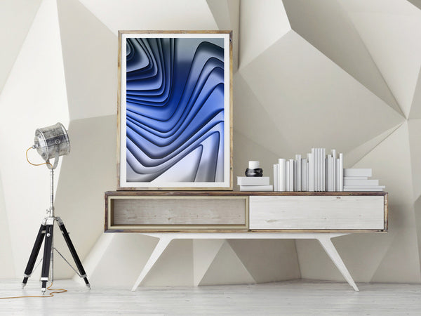 blue art, geometric photography, abstract, interior design
