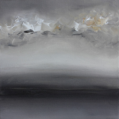 abstract grey black landscape painting, clouds