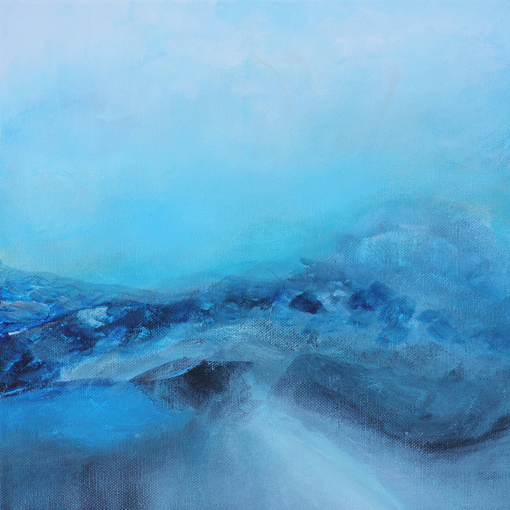 ice land, blue landscape painting for sale, 12x12 painting, abstract painting, monochromatic painting
