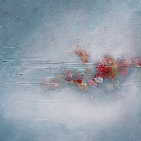 heavenly places, ethereal art, flowers, abstract painting, blue, blooming, painting
