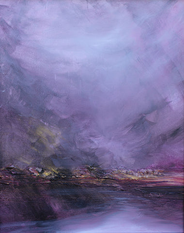 purple pink landscape, abstract landscape painting, purple art, ethereal art