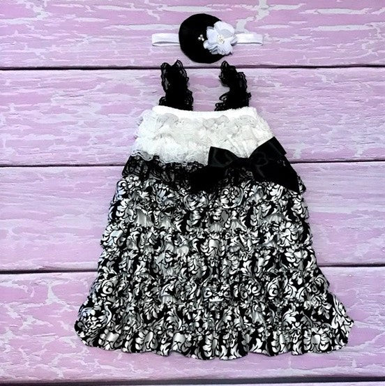 Damask Baby Dress. Black and White Baby Dress