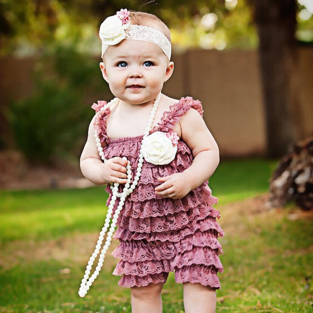 Dusty Rose Lace Romper. Baby Girl Dusty Pink Romper Set