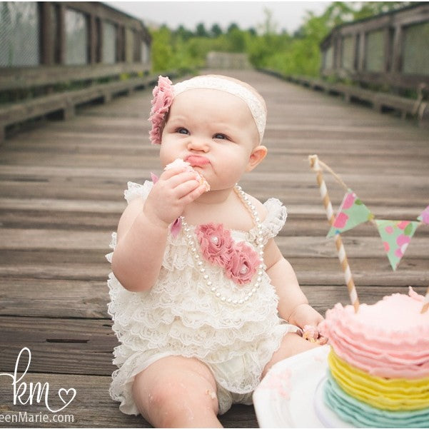 Baby Romper. Lace Romper. First Birthday Outfit Girl.