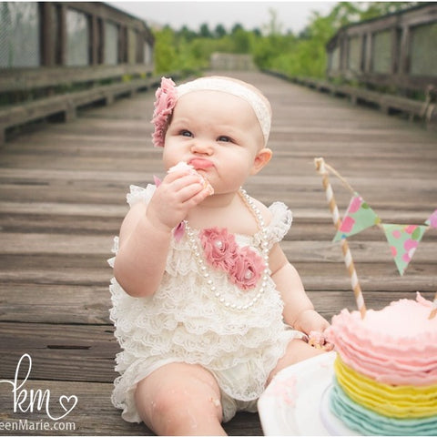 Pink lace bubble romper