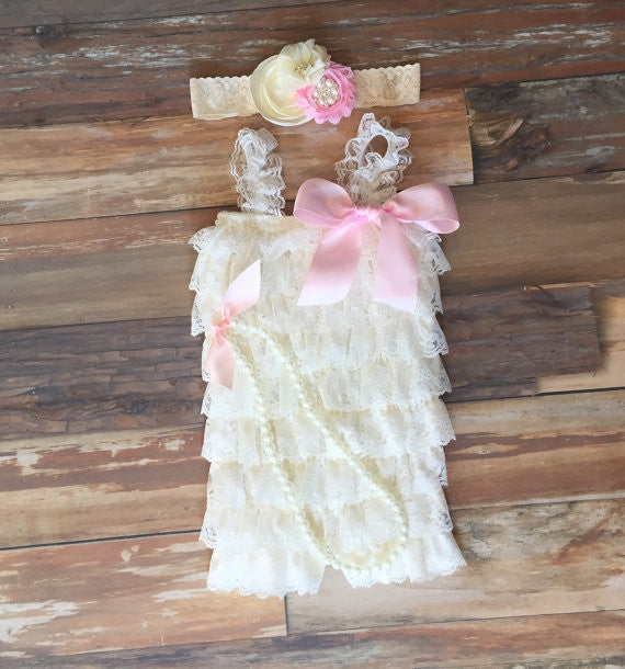 7b9db5cbb83 Baby girl first birthday outfit. Ivory Lace romper.