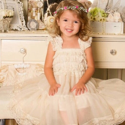 Lace Toddler Dress. Flower Girl Dress. Ivory Flower Girl Dress