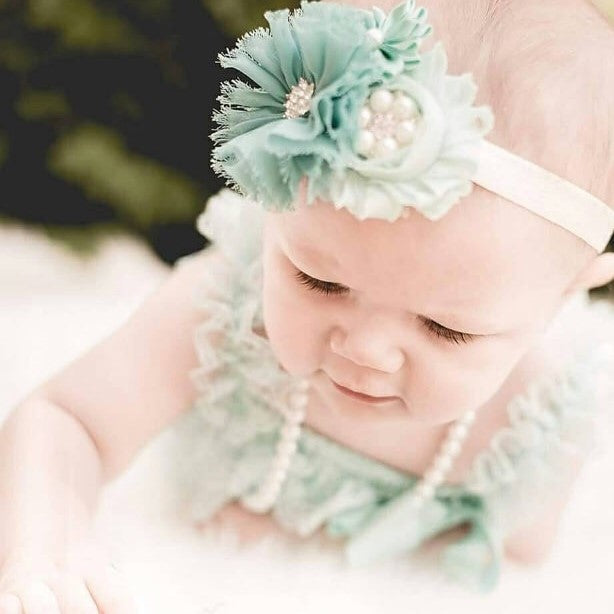 Aqua Baby Romper. Lace Romper. Baby Girl Birthday Outfit