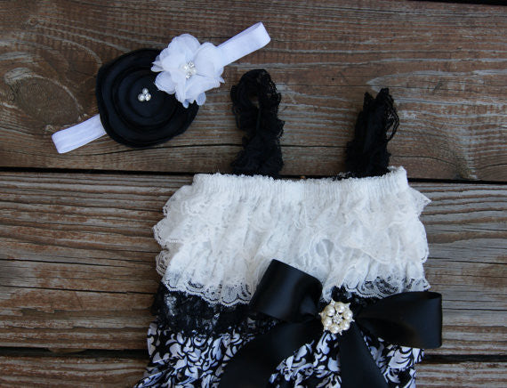 White and black baby romper