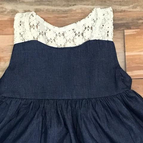 denim and lace baby dress