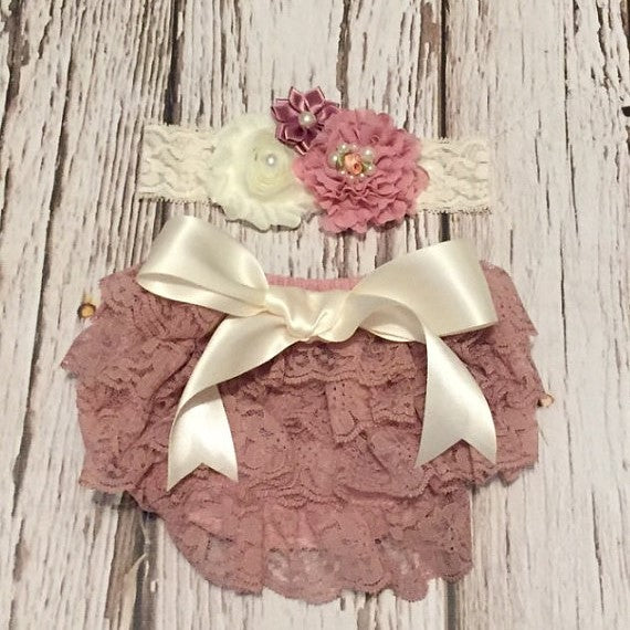Baby Lace Bloomer Dusty Rose Bloomer Baby Girl Diaper Cover