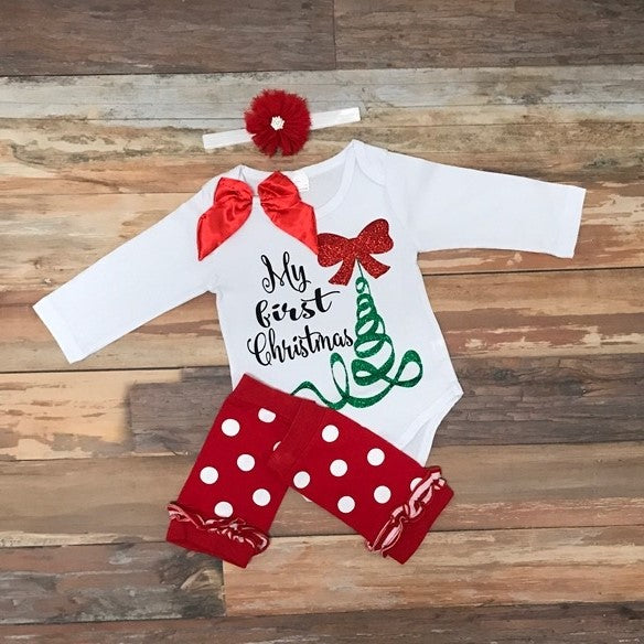 My First Christmas outfit - Baby Girl First Christmas Outfit L 1st Christmas Outfits By KK