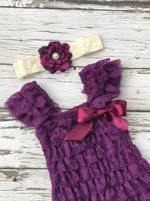 The Penelope Plum Lace Dress